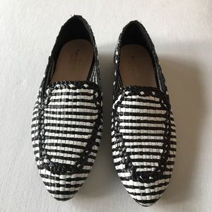 Kate Spade black and white woven leather loafers